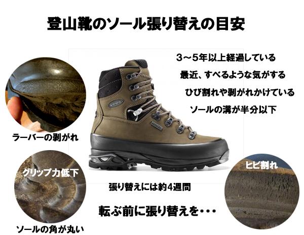 登山靴 ソール 張り替え